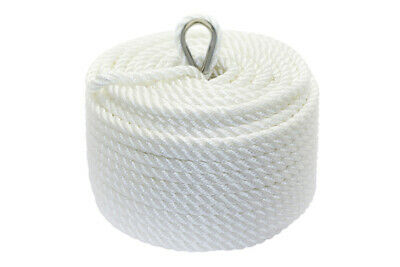 Nylon 3 Strand Twisted Anchor Line 14mm x 60 metres, White