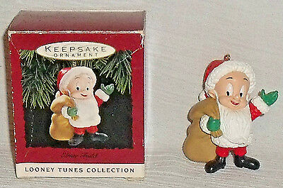 "Hallmark Ornament ELMER FUDD in Santa Outfit Suit 2.5"" In Box Vtg 1993"