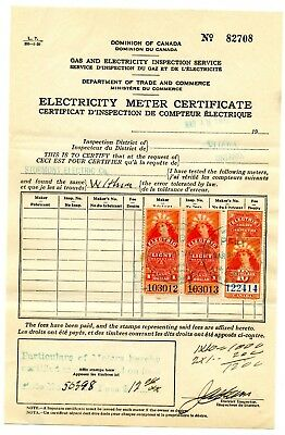 Weeda Canada FE13a, 17 Used 1900 Electric Light Inspection issue on document