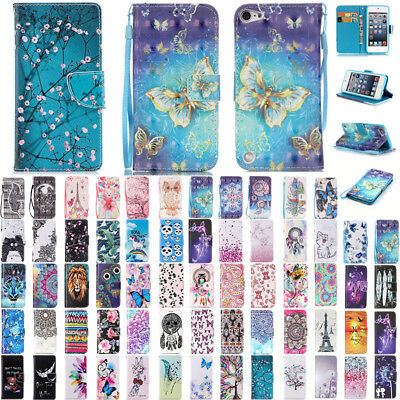 For iPod Touch 5th 6th Gen Patterned Flip Leather Wallet Card Slots Case Cover