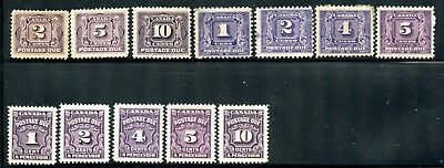 Weeda Canada J2/J20 Mint lot of Postage Due 1906-65 issues, some faults