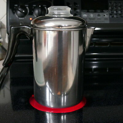 Vintage 8 Cup Stainless Percolator Stovetop Coffee Pot w/Glass Knob ~ Camping