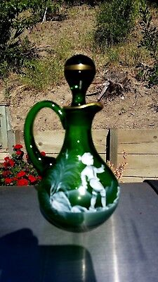 1970's MARY GREGORY EMERALD GREEN GLASS CRUET WITH GOLD TRIM BOY CHASING BIRD