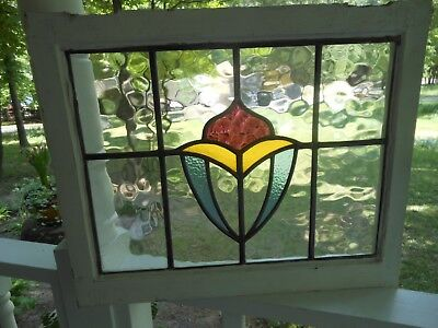 LA-135 Lovely Older Leaded Stained Glass Window From England 23 1/8 X 18 7/8