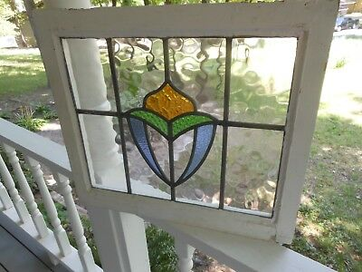 LA-136A Lovely Older Leaded Stained Glass Window From England 21 7/8 X 18 3/4