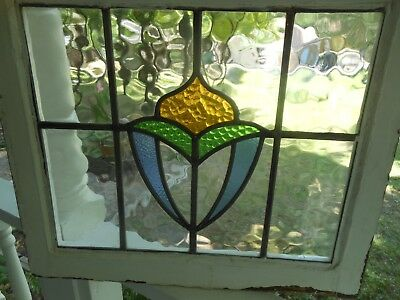 LA-131 Lovely Older Leaded Stained Glass Window From England 22 X 19