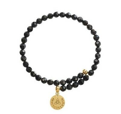 NEW Nikki Lissoni Bracelet Black Beads Yellow Gold Plated Inner Strength 19cm