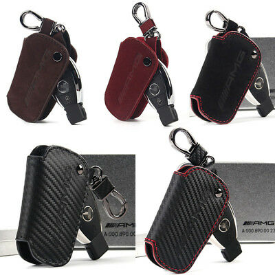 For Mercedes Benz AMG Smart Key Case Car Remote Key Fob Holder Chain Bag Cowhide