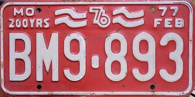 USA Number Licence Plate MISSOURI 1976 200 YEARS