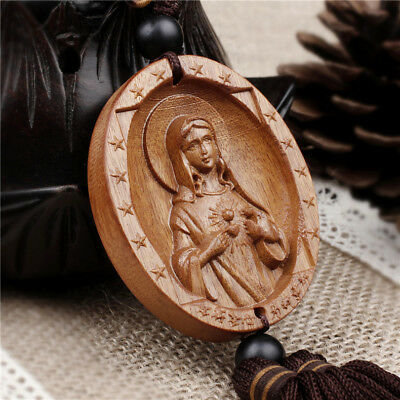 China Wood Carving Madonna Virgin Mary Goddess Mother of God Statue Car Pendant