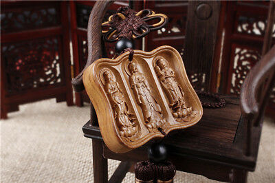 Rose Wood Carving Three Western Saints Buddha Kwan Yin Car Pendant Amulet Crafts