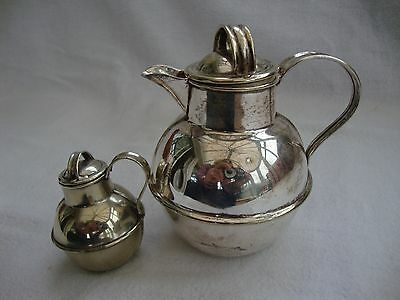 TWO VINTAGE SILVER PLATED EPNS JERSEY CREAMER POTS MILK CHURNS  10.5 cm & 6 cm