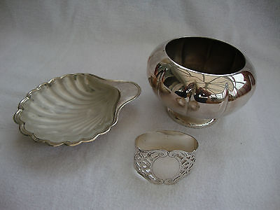 Three Vintage Silver Plated Items - Napkin Ring Butter Dish With Glass & Bowl