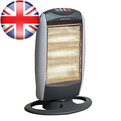 New 1200W Halogen Heater Portable 3 Bar Home Office Winter Oscillating Base Cold