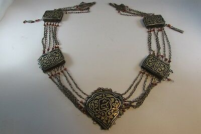 Antique Original Islamic Ottoman Silver Coral Enamel Amazing Necklace? Belt