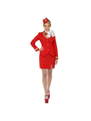 Kostüm Stewardess Uniform Rot
