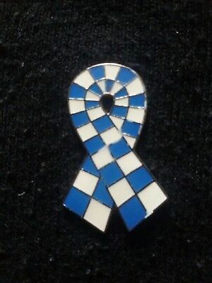 NEW Testicular Prostate Cancer UK - Pin Badge - Blue & White Ribbon - Brand NEW