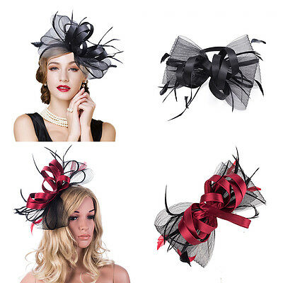 Womens Ladies Sinamay Satin Flower & Black Feather Clips Hat Fascinator A326