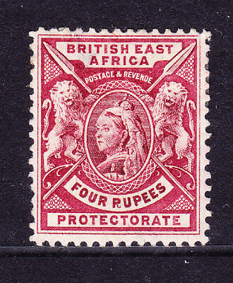 KUT British East Africa QV 1896 SG78 4rs carmine-lake m/m - small thin. Cat £70