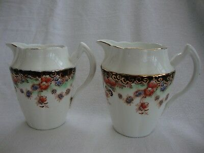 TWO ORIGINAL ANTIQUE SUTHERLAND CHINA MILK JUGS IMARI COLOURS ON WHITE  11 cm