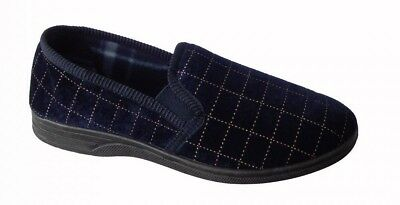 MENS Navy Check Slip On Side Gusset Indoor/outdoor Moccasins Slippers SIZES 6-11