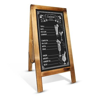Premium Rustic Cafe Menu Chalkboard - 100x50cm Wooden Display AFrame - Sidewalk