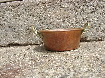 Vintage French Copper  Miniature Jam Pan  Rolled Top Edge Brass Handle