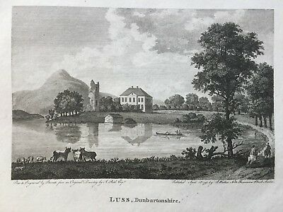 1793 Antique Print; Camstradden Tower and House, Luss, Argyll, after Reid