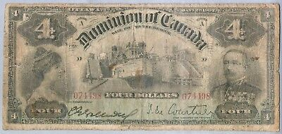 1902 Issue Dominion Of Canada $4 Banknote *early Date Extreme Rare Piece*