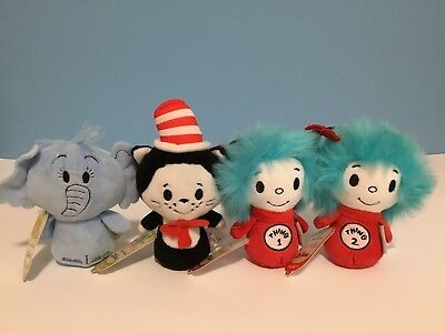 NWT Hallmark Itty Bitty Set of (4) Horton -Cat in the Hat-Thing 1 & Thing 2 Rare