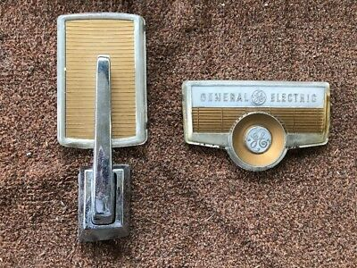 Vintage GE General Electric 1950's Refrigerator Door Handle & Trim & Logo