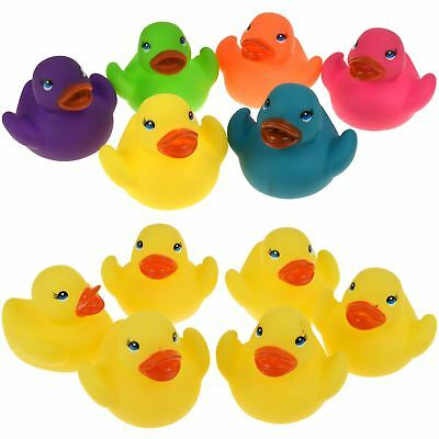 6 Mini Multi Colour Bath Time Rubber Ducks Toy Squeaky Water Play Kids Toddlers