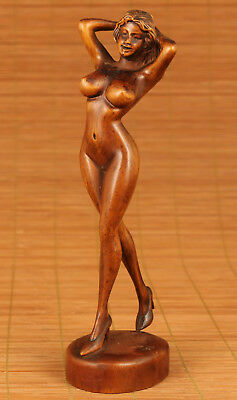 Dancing Sexy Girl Rare China Old Boxwood Collection Hand Carved Statue Art Gift