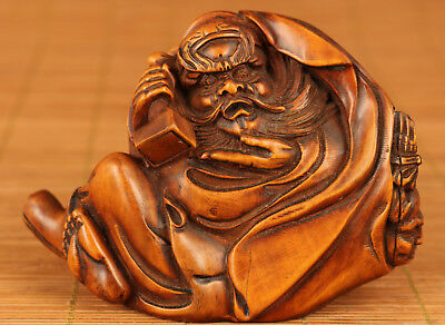 Rare Chinese Old Boxwood Buddha Handmade Carved Zhong Kui Ghost Hunter Statue