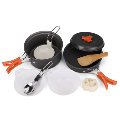 Flexzion Camping Cookware Mess Kit Compact 10pc Hiking Cooking Gear Set - For Ou