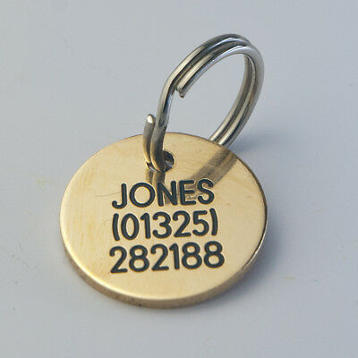 Deeply Engraved Solid Brass Pet Tags 20mm