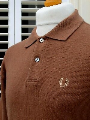 Fred Perry Made In Japan Brown Knitted Jumper - L - Ska Mod Scooter Casuals Rare