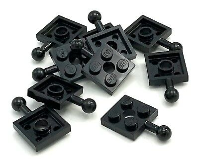 Lego 10 New Black Plates Modified 2 x 2 with Towball and Hole Pieces