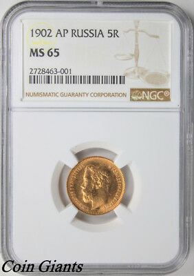 1902 RUSSIA 5 Roubles NGC MS 65 GEM Y# 62 Gold Coin UNC Uncirculated Nicholas II