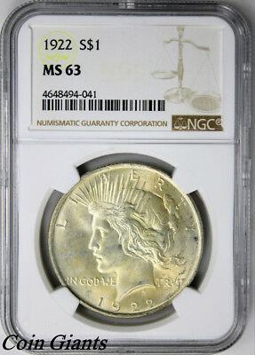 1922 Peace Silver Dollar NGC MS 63 Toned Reverese Philadelphia Mint Coin S$1