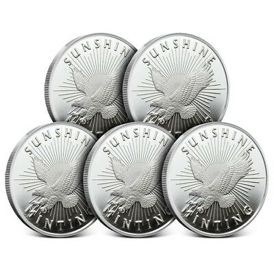 Lot of 5 - Sunshine Minting (SMI) 1 Oz .999 Silver Rounds New with Mintmark SI