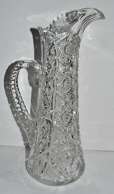 Antique Vtg American Brilliant Cut Crystal Tall Glass Champagne Pitcher