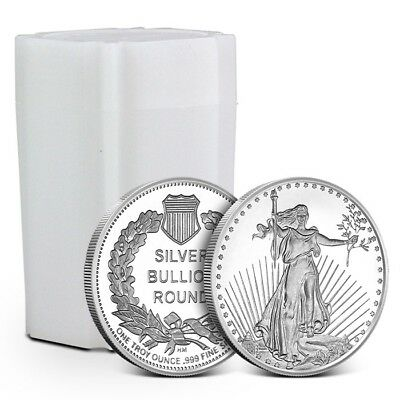 Lot/Tube of 20 - 1 oz Highland Mint (HM) .999 Silver Rounds Saint-Gaudens Design