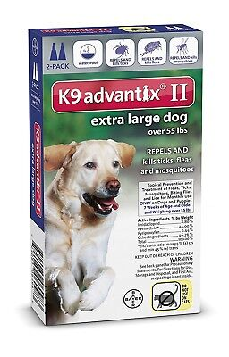 ADVANTIX ii For Extra Large Dog over 55 Lbs Two Doses / Two Month Supply Fresh