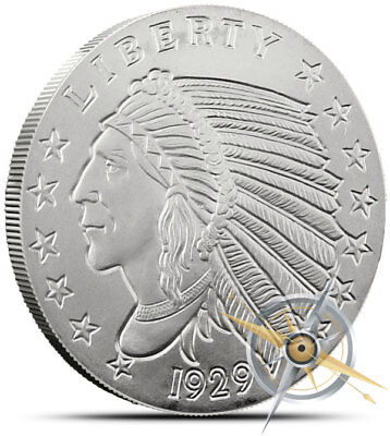 2 Oz .999 Fine Silver Round - Golden State Mint - Incuse $5 Indian Design - New!