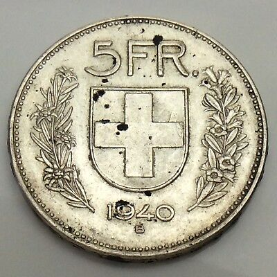 1940-B Switzerland 5 FR Francs 835 Silver Circulated Swiss Coin F475