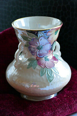 Rare Vintage Maling Lustre Ware Vase With Flowers