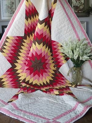 "Never Used! Vintage c1930 SUNSET Colors Texas Star QUILT 69 1/2"" x 63"""