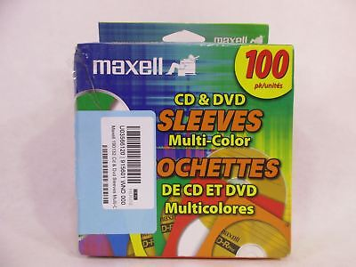 Maxell 190132 Cd & Dvd Sleeves Multi-Color100Pk (Paper)