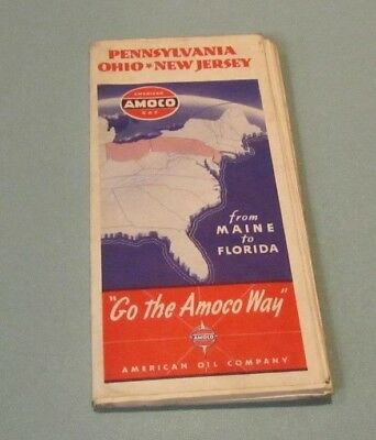 1930's Amoco American Gasoline Oil Company Pennsylvania Ohio New Jersey Road Map